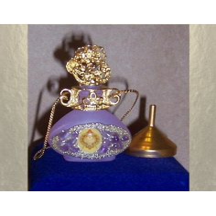 Collier fiole à parfum plaqué or avec entonnoir en métal couleur or dans écrin modèle 37