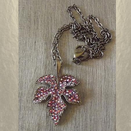 Collier pendentif CRISTAL DE SWAROVSKI feuille 3D bronze artisanal