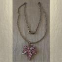 Collier pendentif CRISTAL DE SWAROVSKI feuille 3D bronze décoration artisanale à la main en long