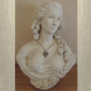 Collier pendentif CRISTAL DE SWAROVSKI HYACINTH AB feuille 3D bronze fabrication artisanale à la main sur buste mannequin