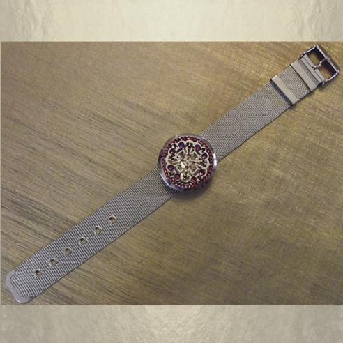 Bracelet diffuseur de parfum CRISTAL DE SWAROVSKI VOLCANO artisanal acier inoxidable 316L stainless steel