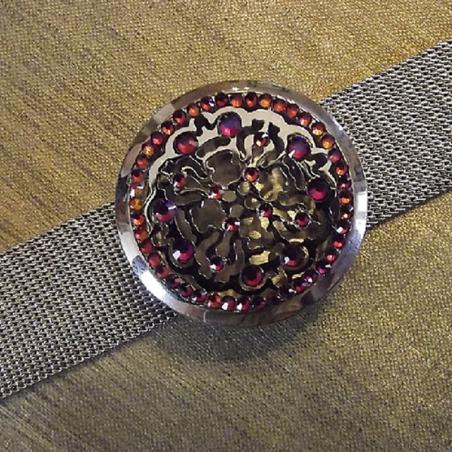 Bracelet diffuseur de parfum CRISTAL DE SWAROVSKI VOLCANO artisanal acier inoxidable 316L stainless steel médaillon