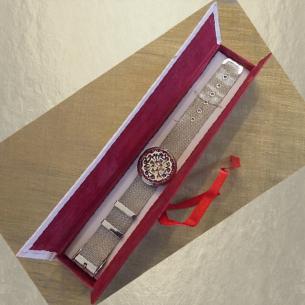 Bracelet diffuseur de parfum CRISTAL DE SWAROVSKI VOLCANO artisanal acier inoxidable 316L stainless steel  dans coffret cadeaux