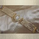 Montre bracelet Cristal de Swarovski artisanale 2 en 1 couleur or cotte de maille