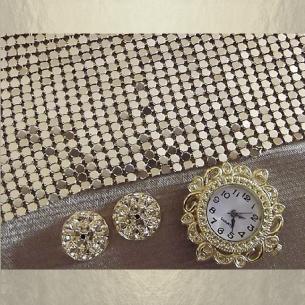 Montre bracelet Cristal de Swarovski artisanale 2 en 1 couleur or cotte de maille  - 6