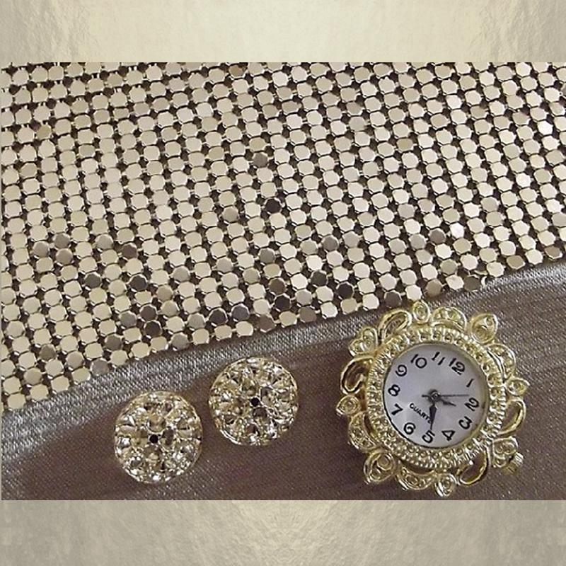 Montre bracelet Cristal de Swarovski artisanale 2 en 1 couleur or cotte de maille composants
