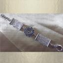 Montre Cristal de Swarovski cotte de maille artisanale couleur argent