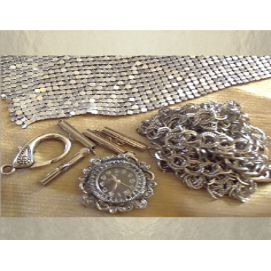 Montre Cristal de swarovski JET artisanale cotte  de maille argent  - 5