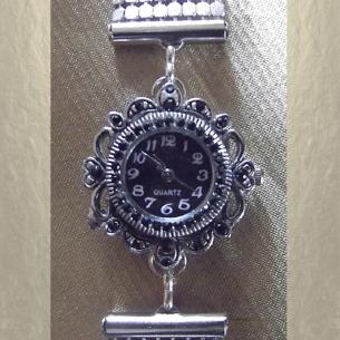 Montre Cristal de swarovski JET artisanale cotte  de maille argent  - 2