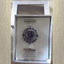 Montre Cristal de swarovski JET artisanale cotte de maille argent dans coffret cadeau