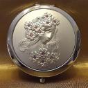Miroir de sac, miroir de poche de luxe visage femme, finition strass artisanale à la main en métal argent