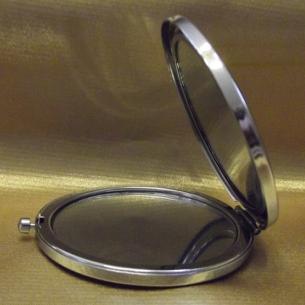 Miroir de sac, miroir de poche de luxe visage femme, finition strass artisanale à la main en métal argent ouvert