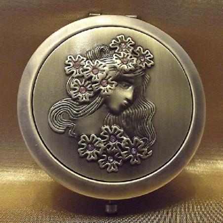 Miroir de sac de luxe visage de femme relief argent strass verre bronze