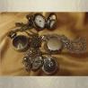 Montre CRISTAL DE SWAROVSKI  VOVCANO à gousset et miroir sautoir argent décoration artisanale composants