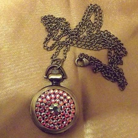 Montre Cristal de Swarovski à gousset et miroir décoration artisanale à la main bronze