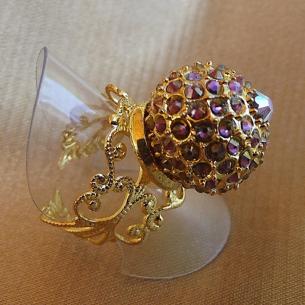 Bague boule pavé CRISTAL DE SWAROVKI plaqué or filigrane ajustable artisanale  - 1