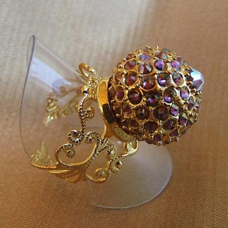 Bague boule pavé CRISTAL DE SWAROVKI plaqué or filigrane ajustable artisanale