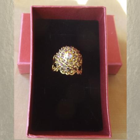 Bague CRISTAL DE SWAROVKI LILAC SHADOW boule pavé filigrane plaqué or dans coffret cadeau