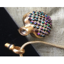 Collier Pendentif fiole Mémorial, fiole à parfum précieux CRISTAL DE SWAROVSKI artisanal cœur or ouvert
