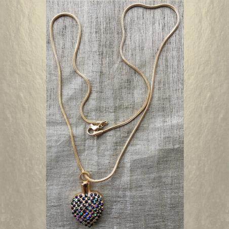 Collier Pendentif fiole Mémorial, fiole à parfum précieux CRISTAL DE SWAROVSKI artisanal cœur or entier