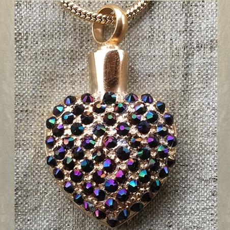 Collier Pendentif fiole Mémorial, fiole à parfum précieux CRISTAL DE SWAROVSKI artisanal cœur or dans écrin