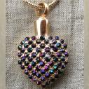 Collier Pendentif fiole Mémorial, fiole à parfum précieux CRISTAL DE SWAROVSKI artisanal cœur or