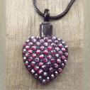 Collier Pendentif fiole Mémorial, fiole à parfum précieux CRISTAL DE SWAROVSKI FUCHSIA AB artisanal cœur noir