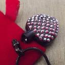 Collier Pendentif fiole Mémorial, fiole à parfum précieux CRISTAL DE SWAROVSKI FUCHSIA AB artisanal cœur noir ouvert