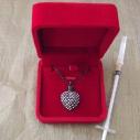 Collier Pendentif fiole Mémorial, fiole à parfum précieux CRISTAL DE SWAROVSKI FUCHSIA AB artisanal cœur noir dans écrin