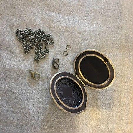 Collier pendentif porte photo, pilulier camé nacre d'Abalone, artisanal bronze composants