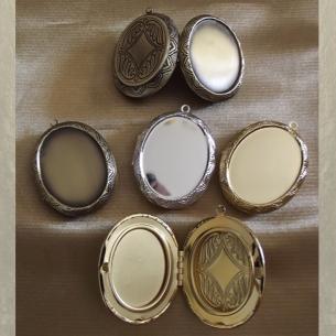 Collier pendentif porte photo, pilulier camé nacre d'Abalone, artisanal argent  - 8