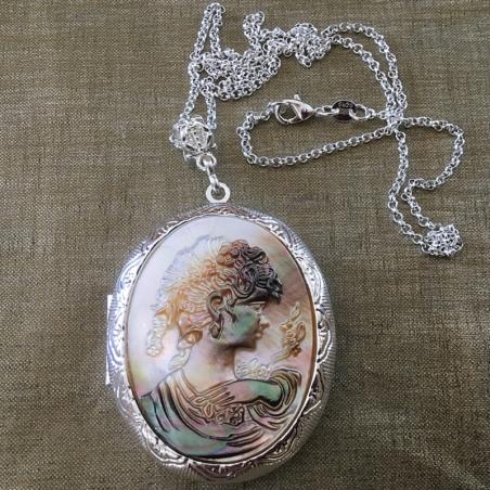 Collier pendentif porte photo, pilulier camé nacre d'Abalone, artisanal argent