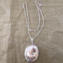 Collier pendentif porte photo, pilulier camé nacre d'Abalone, artisanal argent en grand