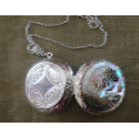 Collier pendentif porte photo, pilulier camé nacre d'Abalone, artisanal argent ouvert face