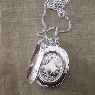 Collier pendentif porte photo, pilulier camé nacre d'Abalone, artisanal argent  - 3