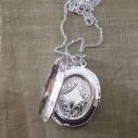 Collier pendentif porte photo, pilulier camé nacre d'Abalone, artisanal argent intérieur