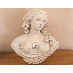 Collier pendentif porte photo, pilulier camé nacre d'Abalone, artisanal argent sur buste mannequin