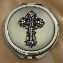 Miroir de sac CRISTAL DE SWAROVSKI PADPARADSCHA AB motif croix bronze décoration artisanale