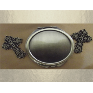 Miroir de sac CRISTAL DE SWAROVSKI PADPARADSCHA AB bronze décoration artisanale  - 3