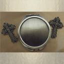 Miroir de sac bronze et motif croix sans décoration