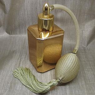 Vaporisateur de parfum poire or effet miroir or carré 55 ml Vaporisateurs de parfum - Au pays des senteurs