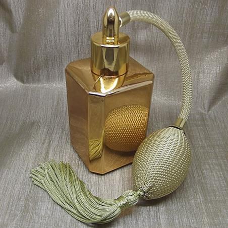 Vaporisateur de parfum poire or effet miroir or carré 55 ml