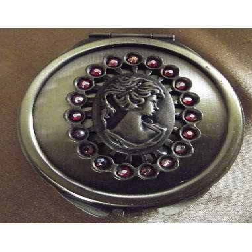 Miroir de sac de luxe bronze décoration artisanale Cristal de Swarovski FIRE OPAL AB estampe camé femme