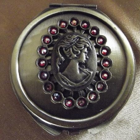 Miroir de sac CRISTAL DE SWAROVSKI FIRE OPAL AB bronze décoration artisanale