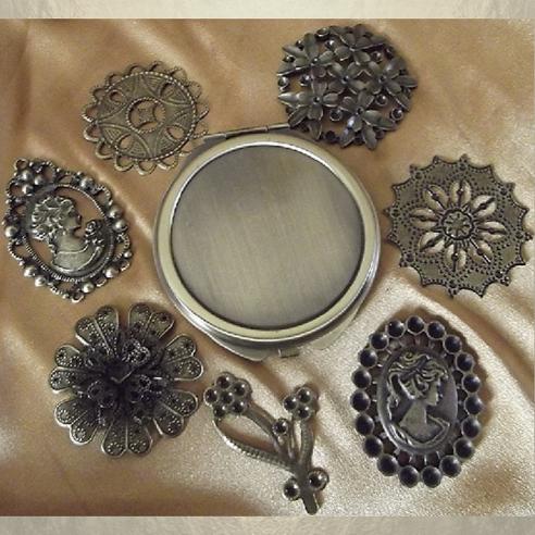 Miroir de sac  bronze avec estampes bronze groupés