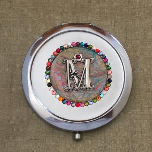 Miroir de sac CRISTAL DE SWAROVSKI initiale Multi couleur argent décoration artisanale