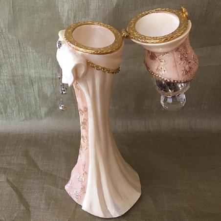 Fiole à parfum cristal, coffret à bijoux mannequin ouvert