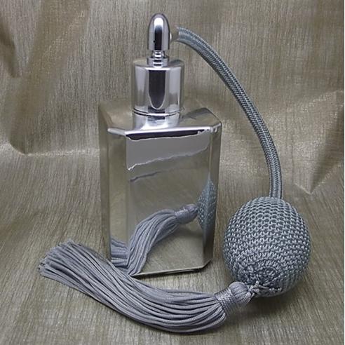 Vaporisateur de parfum poire grise effet miroir argent carré 55 ml Vaporisateurs de parfum - Au pays des senteurs