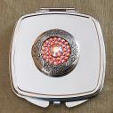 Miroir de sac Cristal de swarovski HYACINTH AB, porte photo de luxe argent décoration artisanale