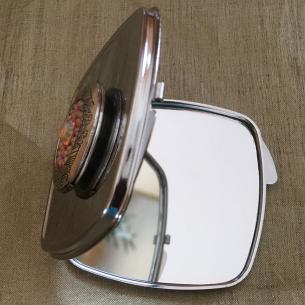 Miroir de sac Cristal de swarovski HYACINTH AB, porte photo de luxe argent décoration artisanale ouvert